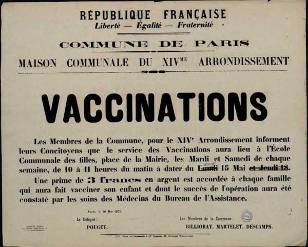 Όταν η Παρισινή Κομμούνα εμβολίαζε μαζικά τον εξεγερμένο πληθυσμό της!